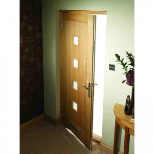 Exterior Oak Veneer Obscure Double Glazed Siena M&T Door Set
