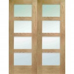 Interior Oak Veneer Shaker Door Pairs with Clear Glass