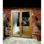 Exterior Oak Veneer Pre-Finished La Porte French Door Set