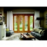 Exterior Oak Veneer Pre-Finished La Porte French Doors with Two Sidelights