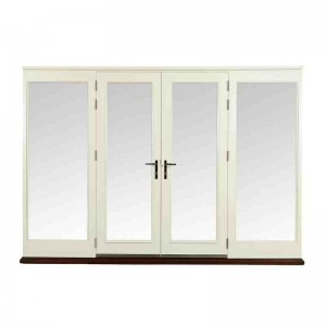 Exterior Pre-finished Pattern 10 French Doors with Two Side Lights